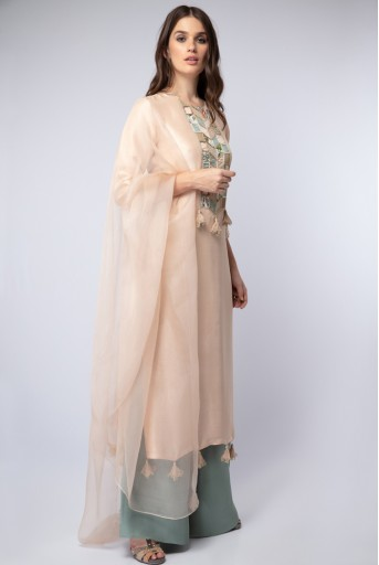 PS-ST1193 Blush Silk Kurta with Powder Blue Silk Palazzo and Blush Organza Dupatta