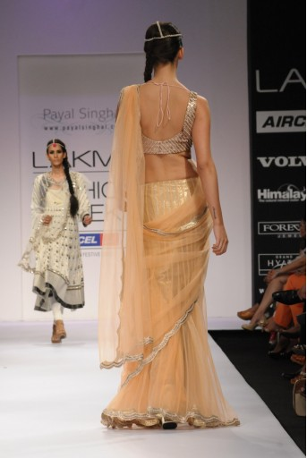 PS-FW164 Blush Tulle Tiered Saree with Choli