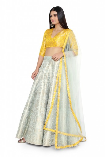 PS-ST0695-F  Bright Yellow Colour Brocade Choli with Aqua Colour Brocade Lehanga and Net Dupatta
