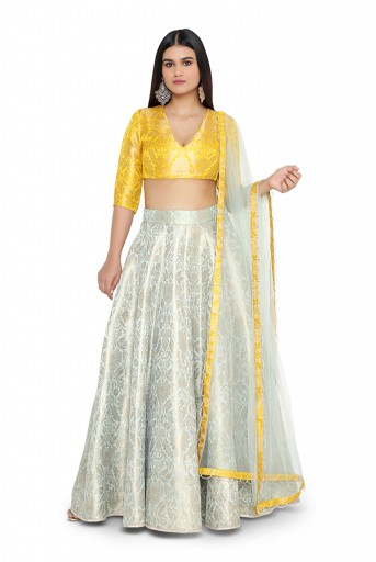 PS-ST0695-F-2  Bright Yellow Colour Brocade Choli with Aqua Colour Brocade Lehanga and Net Dupatta