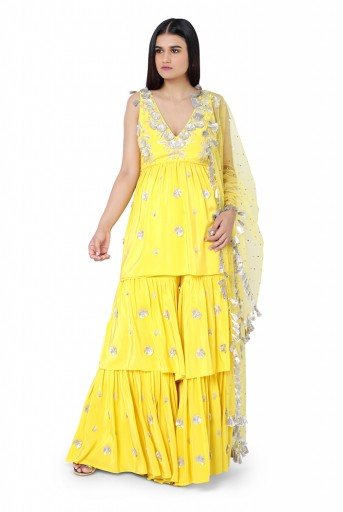 PS-FW593-F-1  Bright Yellow Colour Crepe Kurta with Layered Sharara Pant and Mukaish Net Dupatta