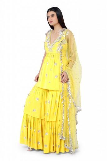 PS-FW593-F-1  Bright Yellow Colour Crepe Kurta with Layered Sharara Pant and Mukaish Net Dupatta