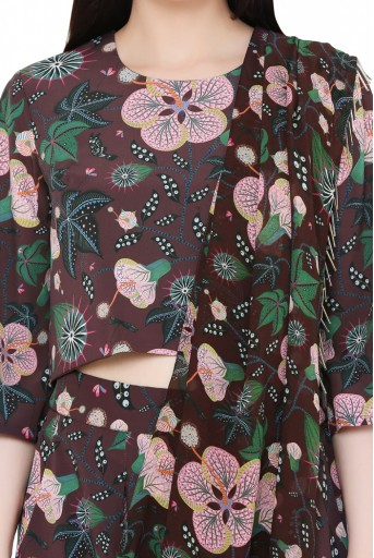 PS-ST1188-DDD  Brown Colour Printed Art Crepe Crop Top and Low Crotch Pant with Attached Printed Art Georgette Drape