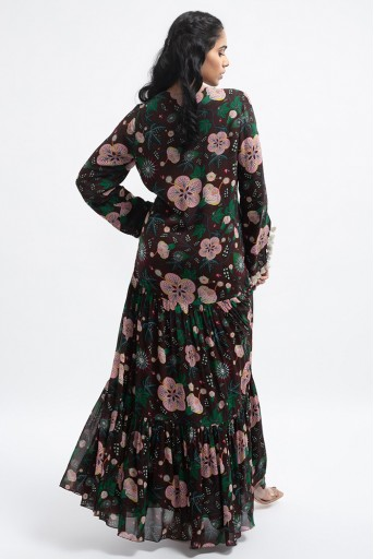 PS-DR0014-C  Brown Colour Printed Art Georgette Tiered Dress