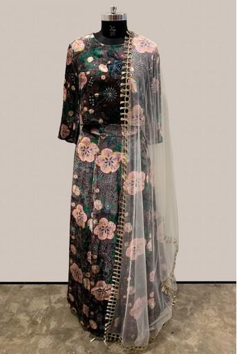 PS-LH0001-1 Brown Printed Velvet Choli and Lehenga with Blush Net Dupatta