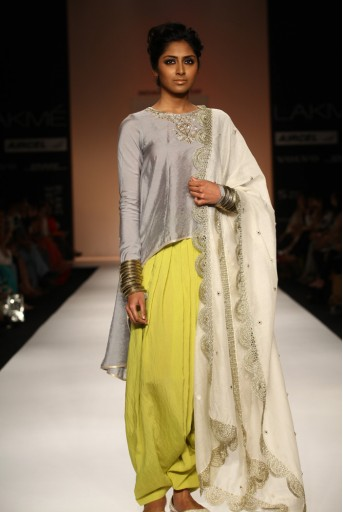 PS-FW178 Chaand Grey Cotton Silk High-Low Kurta with Lime Green Patiala Salwar and Cream Silkmul Dupatta