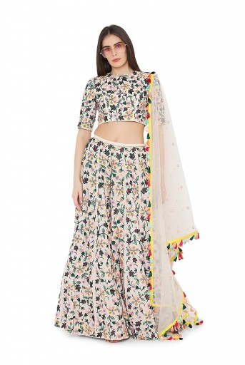 PS-LH0034  Chalk White Colour Georgette Back Tie-Up Choli and Lehenga with Net Dupatta