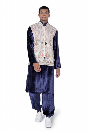 PS-FW752  Chalk White Colour Georgette Bandi with Navy Colour Velvet Kurta and Jogger Pant