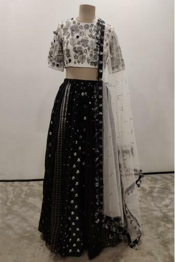 PS-LH0020-E-1  Chalk White Colour Georgette Choli with Black Colour Benarasi Brocade Multi Panelled Lehenga with Net Dupatta