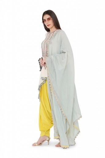 PS-KS0005  Chalk White Colour Georgette High-Low Kurta with Lime Green Colour Crepe Salwar and Powder Blue Colour Chanderi Checks Dupatta
