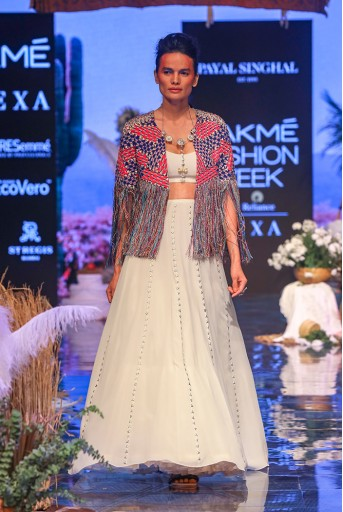 PS-FW638-3  Chalk White Colour Georgette Jacket with Bustier and Lehenga