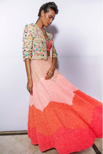 PS-FW672-3  Chalk White Colour Georgette Jacket with Neon Pink Colour Georgette Bustier and Lehenga
