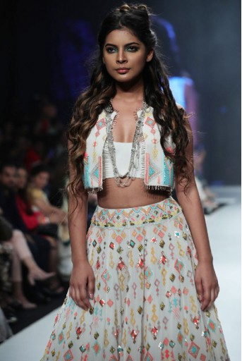 PS-FW678/2  Chalk White Colour Georgette Waist Coat with Bustier and Lehenga