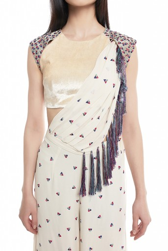 PS-SS0004-B  Chalk White Velvet Choli and Georgette Palazzo with Attached Drape Dupatta