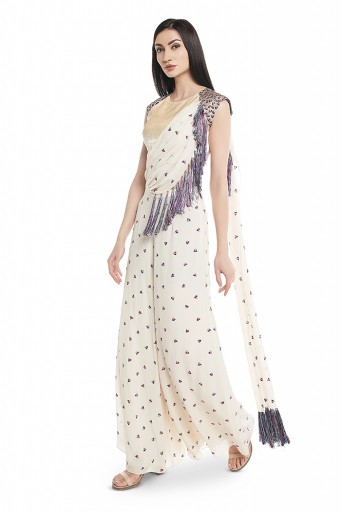 PS-SS0004-B-1  Chalk White Colour Velvet Choli and Georgette Palazzo with Attached Drape Dupatta