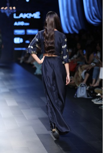 PS-FW451 Cher Navy Silk Crop Top with Overlap Palazzo