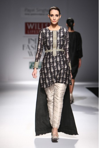 PS-FW289 Chinar Black Printed High-Low Kurta with Stone Dupion Silk Low Crotch Pant