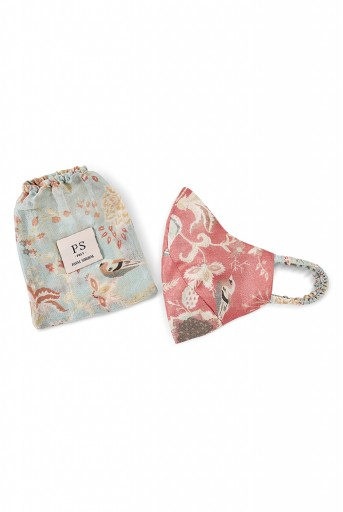 PS-MS0001 Coral and Aqua Chidiya Print Reversible 3 Ply Face Mask with Pouch