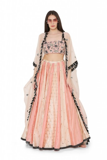 PS-LH0040  Coral Colour Georgette Bustier with Blush and Coral Colour Benarasi Brocade Multi Panelled Lehenga with Blush Colour Organza Cape
