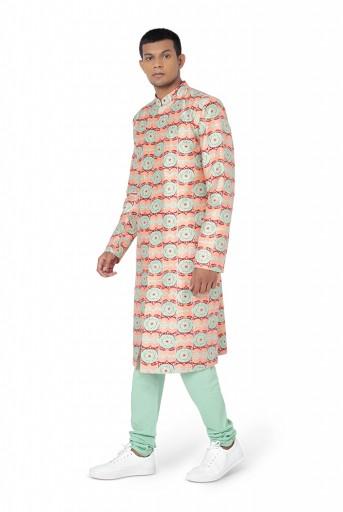 PS-FW776  Coral Colour Printed Dupion Silk Sherwani and Mint Colour Cotton Silk Churidar