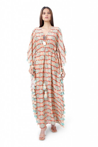 PS-KF0060  Coral Colour Printed Silkmul Kaftaan