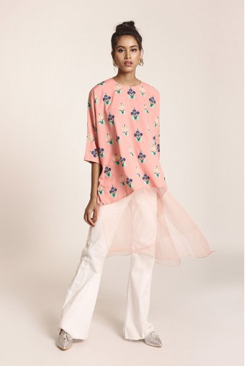 PS-TUA0038 Coral Printed Art Crepe and Organza Kaftaan Tunic