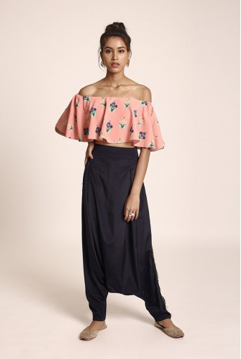 PS-FW425TT Coral Printed Art Crepe Ruffle Off Shoulder Top with Navy Art Crepe Low Crotch Pant
