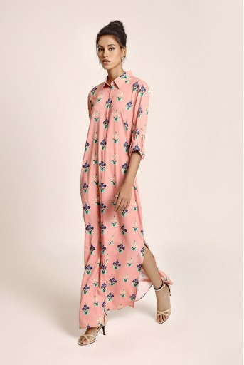 PS-TUA0036 Coral Printed Art Crepe Shirt Dress