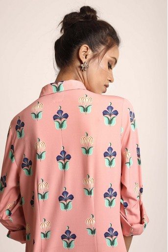 PS-TUA0036 Coral Printed Art Crepe Shirt Dress