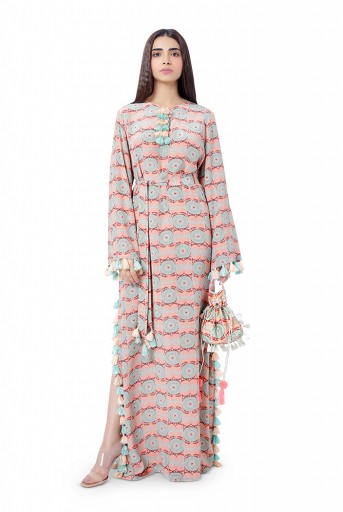 PS-KF0046-N  Coral Printed Crepe High-Slit Kaftaan with Belt