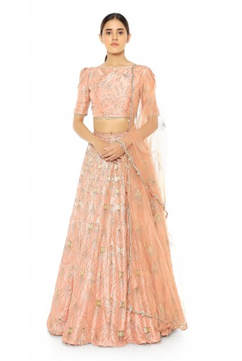 PS-ST0979-A  Coral Silk Choli and Lehenga with Net Dupatta