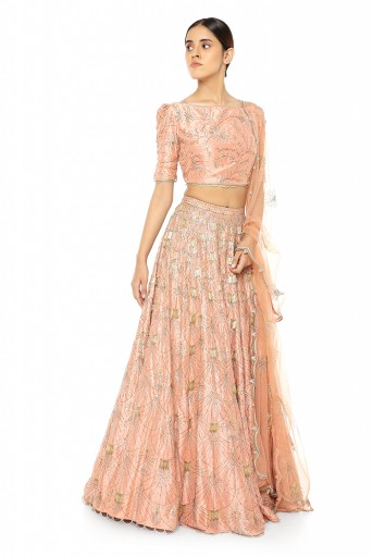 PS-ST0979-A-1  Coral Silk Choli and Lehenga with Net Dupatta