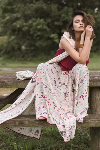 PS-ST1207-V  Cranberry Crepe Two Layer Top with Cream Printed Georgette Saree