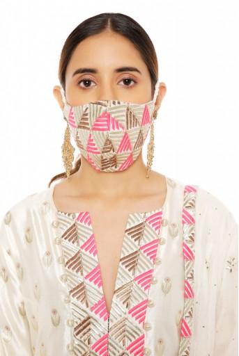 PS-KP0046  Cream Colour Banarasi Silk Kurta with Palazzo and Chanderi Mukaish Dupatta with Brocade Patterned Detail and Matching Structured 3 Ply Mask