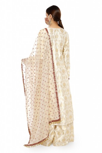 PS-KP0051  Cream Colour Banarasi Silk Kurta with Palazzo and Embroidered Banarasi Net Dupatta with Maroon Colour Brocade Patterned Detail and Matching Structured 3 Ply Mask