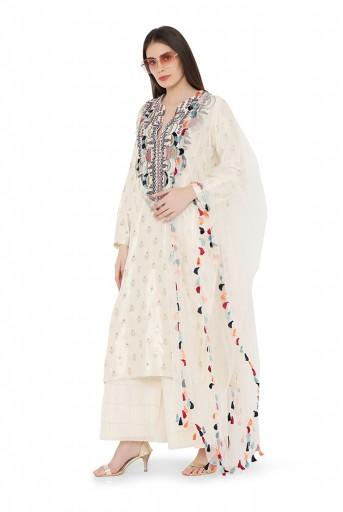 PS-KPOO54  Cream Colour Benarasi Silk Kurta with Chanderi Checks Palazzo and Net Dupatta