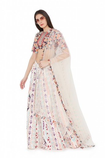 PS-LH0027-A  Cream Colour Crepe Back tie-Up Choli with Net Dupatta and Printed Lehenga