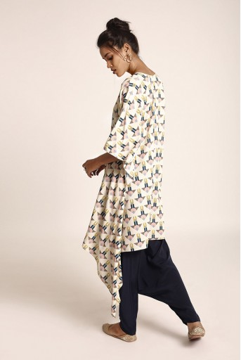 PS-ST1406-F  Cream Colour Printed Art Crepe Kurta with Navy Colour Art Crepe Low Crotch Pant