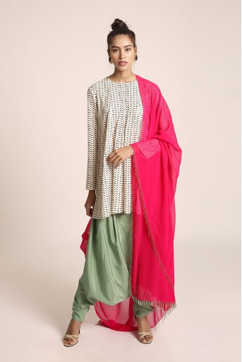 PS-ST1409  Cream Colour Printed Art Crepe Short Kalidaar with Green Colour Art Crepe Low Crotch Pant and Hot Pink Colour Art Georgette Dupatta