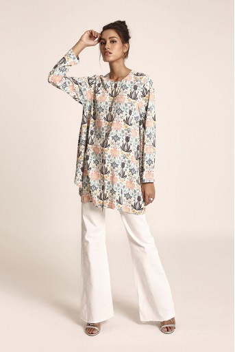 PS-TUA0020  Cream Colour Printed Art Crepe Tunic