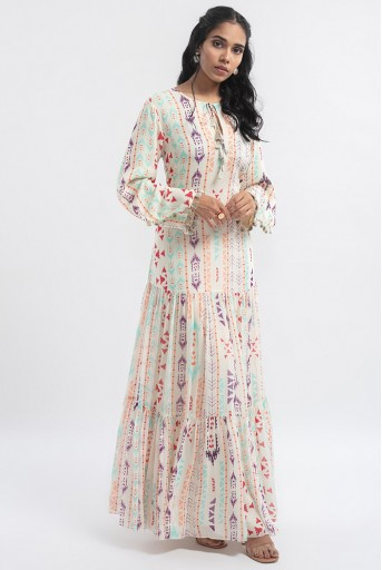 PS-DR0014-D  Cream Colour Printed Art Georgette Tiered Dress
