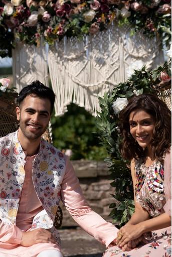 PS-MN145  Cream Colour Printed Dupion Silk Bandi with Rose Pink Colour Silk Kurta and Off White Colour Cotton Silk Churidar