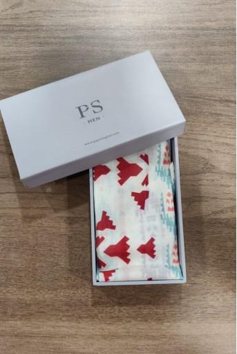 PS-PS100  PS Men Cream colour printed silkmul pocket square