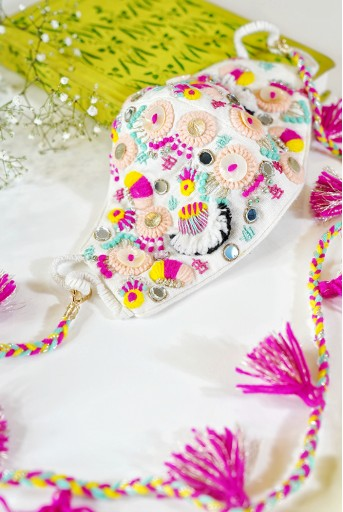PS-MS0055-A  Cream Linen Multi Coloured Wool Embroidered Mask With Detachable Chain Tassel