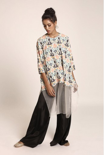 PS-ST0649U Cream Printed Art Crepe and Organza Kaftaan Tunic with Black Art Crepe Palazzo