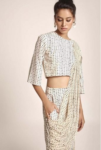PS-ST1188K Cream Printed Art Crepe Crop Top and Low Crotch Pant with attached Printed Art Georgette Drape