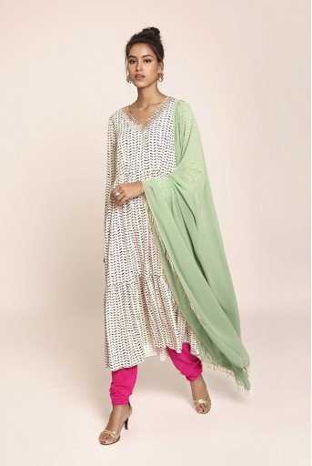 PS-ST1408 Cream Printed Art Crepe Kurta with Hot Pink Soft Net Churidar and Green Art Georgette Dupatta