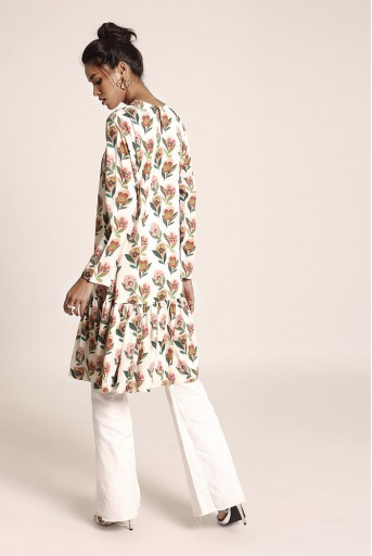 PS-TU1228 Cream Printed Art Crepe Tunic