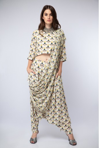 PS-ST1188 Cream Printed Crepe Crop Top with Low Crotch Pant and Attached Georgette Drape