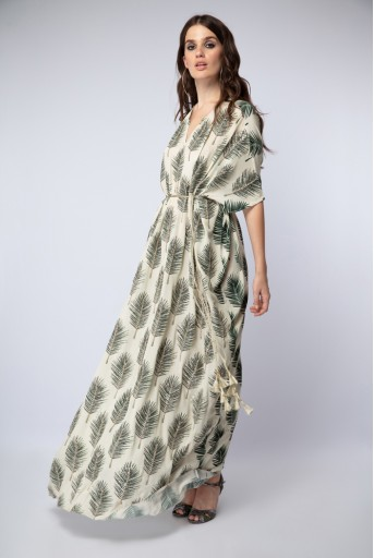 PS-ST1203 Cream Printed Crepe Kaftaan Maxi Dress with Belt